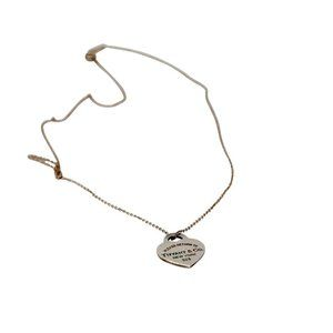 Tiffany & Co. Avenue Engraved Heart .925 Necklace